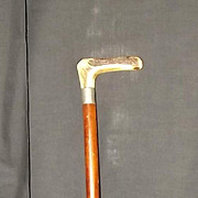 1922 Sterling Silver Mounted Cane With A Deer Antler Handle