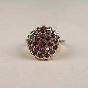9ct Yellow Gold Garnet Cluster Ring UK Size J US 4 ¾