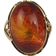 14ct Yellow Gold Amber Ring UK Size L+ US 6