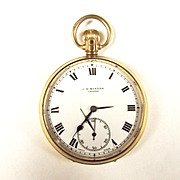 "9ct Gold ""GR"" 1937 Dated J.W. Benson Pocket Watch"