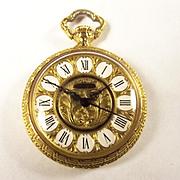 Ladies Fine 18ct Gold Ornate Algex Made Pocket Watch