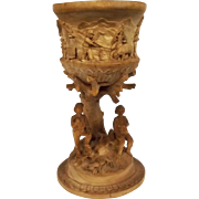 19th Century Austrian Black Forest Carved Beech Goblet