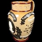 Circa 1890 Doulton Lambeth General Gordon Commemorative Stoneware Jug