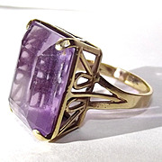 9ct Gold Large Amethyst Ring UK Size N US 6 ¾
