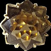Elegant 9ct Yellow Gold Smokey Quartz Ring UK Size S, US 9 1/3