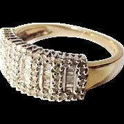 Diamond 9ct Yellow Gold Ring UK V US Size 10 2/3