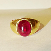 9Ct Gold Band Red Ruby Ring S US Size 9 1/3