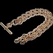 Circa 1890 9Ct Rose Gold Twin Strand Albert Watch Chain