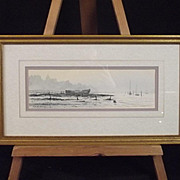 Washed Up Vessel Shore Scene By Colin M Baxter - Marine Artist