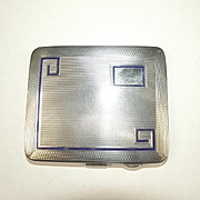Chester 1932 Enamelled Sterling Silver Art Deco Business Card Case