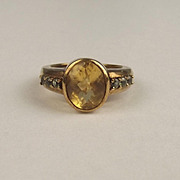 9ct Yellow Gold Citrine & Topaz Ring UK Size N US 6 ¾