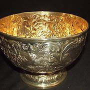 London 1900 Silver Bowl On A Pedestal Base