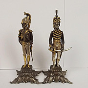 Silver Gilt & Zinc Pair Of Napoleonic Soldiers