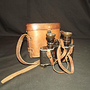 WWI Era Cased British Army Field Binoculars French Made x7 Magnification
