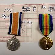 WW1 Medal Pair 293825 Pte. Reginald Pay Middlesex Regiment