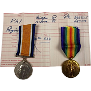 WW1 Medal Pair 293825 Pte. Reginald Pay Middlesex Regiment