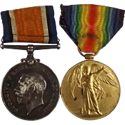 WW1 Medal Pair 204922 PTE W Bonnington Liverpool Regiment