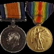 WW1 Medal Pair 204922 PTE W Bonnington Liverpool Regiment