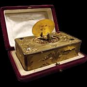 c1900 German Diamond Set Gilt Silver Clockwork Automaton Singing Music Bird Box