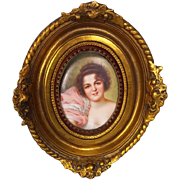 c1900 Oval Oil On Porcelain Plaque Portrait Of A Marquesa Lady By Bruno Geyer