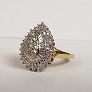 18ct Yellow Gold Diamond Tear Drop Cluster Ring UK Size P US 7 ¾