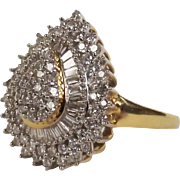 18ct Yellow Gold Diamond Tear Drop Cluster Ring UK Size P US 7 ¾