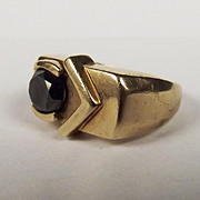 Gents 9ct Gold Black Diamond Ring UK Size N US Size 6 ¾