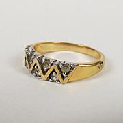 9ct Gold Diamond Zig Zag Ring Size P US 7 2/3