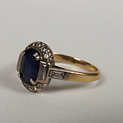 18ct Yellow Gold Deep Blue Sapphire & Diamond Ring Size N ½ US 7