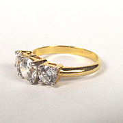 9ct Yellow Gold Trilogy Cubic Zirconia Ring UK Size R US 8 ¾