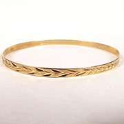 9ct Yellow Gold Floral Bangle