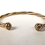 9ct Yellow Gold Twisted Torque Bangle