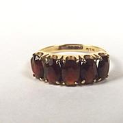 1979 9ct Yellow Gold Five Stone Garnet Ring UK Size Q US 8 1/3