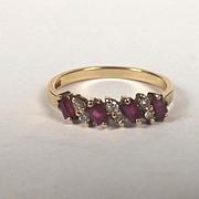 9ct Yellow Gold Garnet & Diamond Ring UK Size P US Size 7 ¾