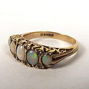 1915 9ct Yellow Gold Five Stone Opal Ring UK Size Q US 8 1/3