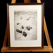 Etching Of Rowing Bumboats Etching By W.L. Wyllie