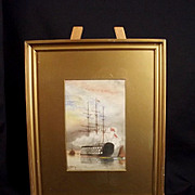 Framed William Edward Atkins Watercolour Of HMS Victory In Portsmouth Harbour