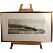 HMS Champion (Battle Of Jutland) And The 13th Flotilla Etching By William Lionel Wyllie