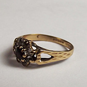 9ct Yellow Gold Garnet & Topaz Flower Head Ring UK Size M 1/2 US 6 ¾