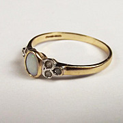9ct Yellow Gold Opal & Glass Ring UK Size R US Size 8 ¾