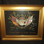 c1910 British Royal Navy Christmas Commemorative Silkwork Embroidery