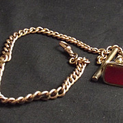 9Ct Albert Pocket Watch Graduated Chain With Carnelian Fob