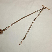 9 Ct Rose Gold Double Albert Chain With Glass Seal