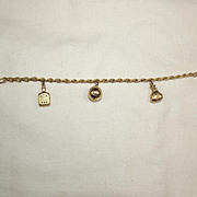 9Ct Gold Charm Bracelet With Three Charms  7.75 Inch