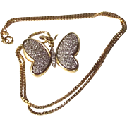 18ct Gold Butterfly Pendant With Diamonds On 14ct Gold Chain