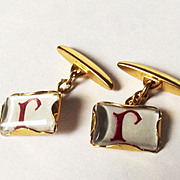 "9ct Gold Enamel ""R"" Initialled Decorated Cufflinks"