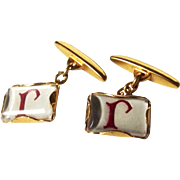 """9ct Gold Enamel """"R"""" Initialled Decorated Cufflinks"""