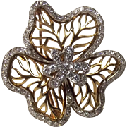 18ct Gold Three Leaf Clover Brooch With Diamonds