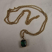9Ct Gold Chain With 14Ct Green Glass Stone 34 inches