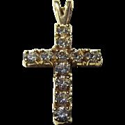 9ct Gold Zirconia Cross Pendant